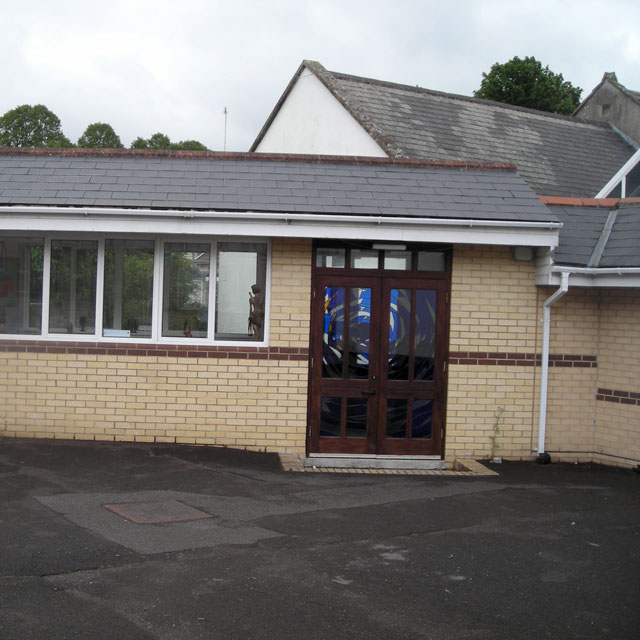 A courtyard at a primary school at Midsomer Norton, Somerset