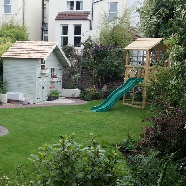 The same garden in Bristol after the play area was designed and built