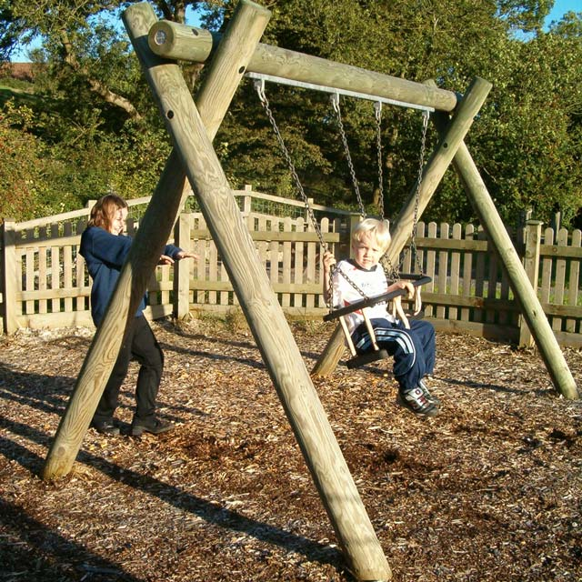 Garden play area design with a swing at Barrow Gurney, near Bristol, Somerset